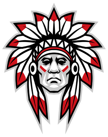 indian head chief mascot Illustration