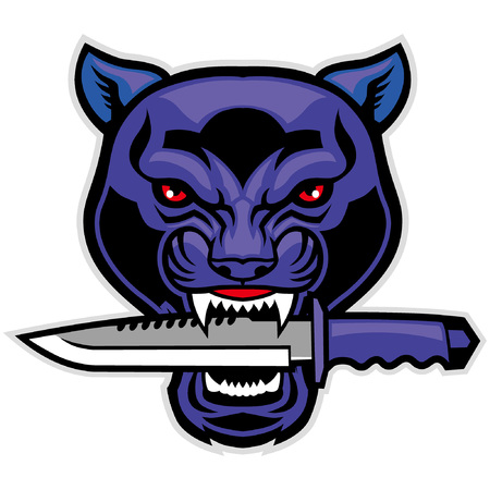black panther head mascot bite the dagger Illustration