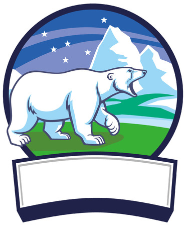 polar bear mascot in the north pole