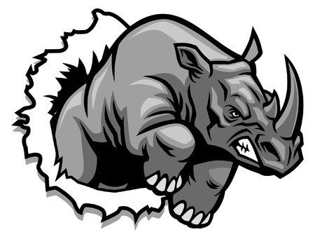 rhino mascot charge breaking Illustration