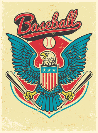 eagle mascot hold the baseball bat Illustration