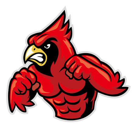 angry cardinal mascot ready to fight
