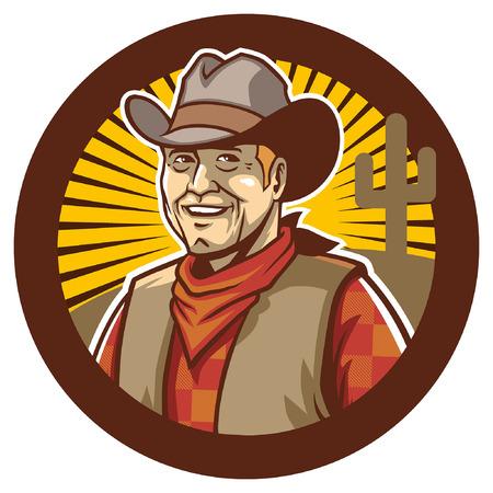 cowboy mascot badge design Ilustração