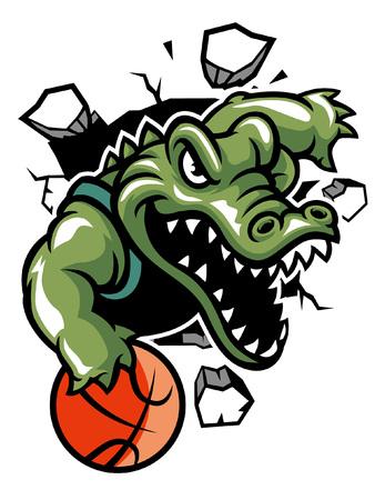 running charge basketball mascot of crocodile Ilustração