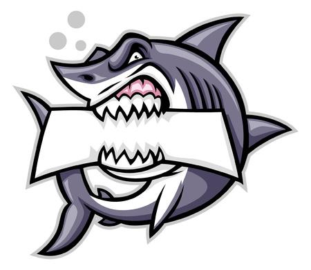 wütendes Hai-Maskottchen beißt den Textraum