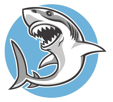 grande mascotte squalo bianco Vettoriali