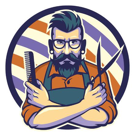 Maskottchen Friseur Mann hält Kamm und Scheres