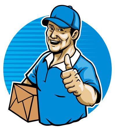 mailman with thumb up Illustration