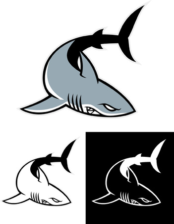 shark mascot in set Illustration