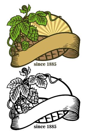 manual hand drawn hops