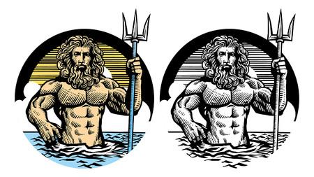 Zeus-Set mit manuellem handgezeichnetem Stil Vektorgrafik