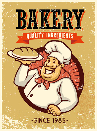 chef bakery show his bread in vintage rusty style Standard-Bild - 117124004