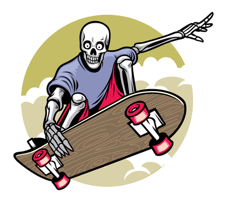 skull riding the skateboard Иллюстрация