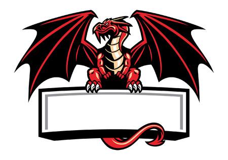 la mascota del dragón sostiene la pancarta en blanco para el texto Ilustración de vector