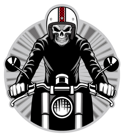 skull ride the motorcycle