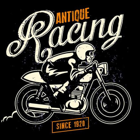 vintage racing concept man riding motorcycle Çizim