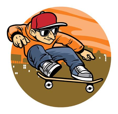 skate sautant sur sa planche à roulettes