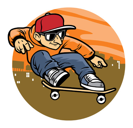 skate springen op zijn skateboard