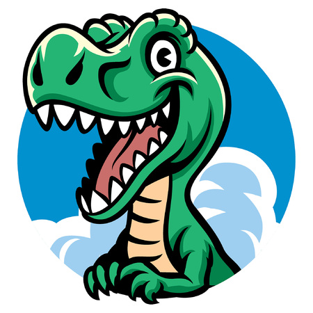 happy t-rex cartoon Vector Illustration