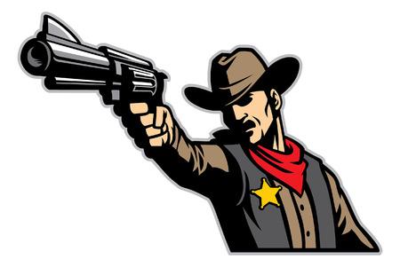 cowboy aiming his pistol