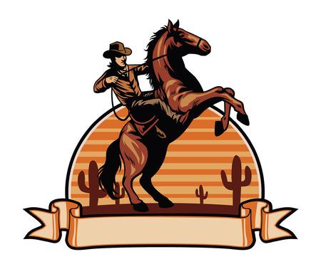 Cowboy reitet sein Pferd