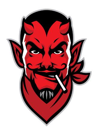 Mascota de cabeza del diablo con cigarrillo en la boca