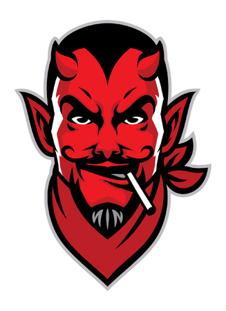 head mascot of devil with cigarette on his mouth Illustration