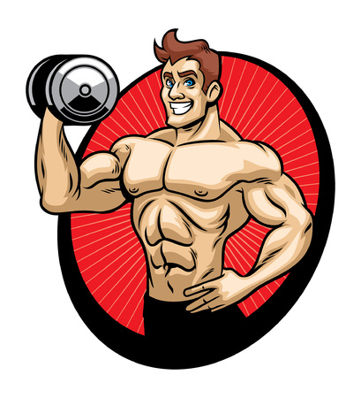 cartoon happy bodybuilder lift the barbell