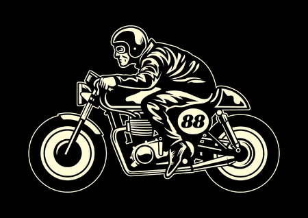 vintage retro vector art man riding vintage motorcycle