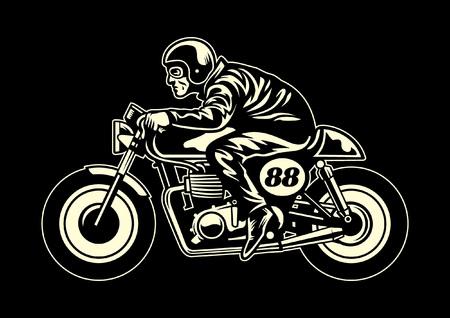 vintage retro vector kunst man rijden vintage motorfiets