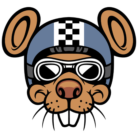 rat head mascot wearing helmet and goggle