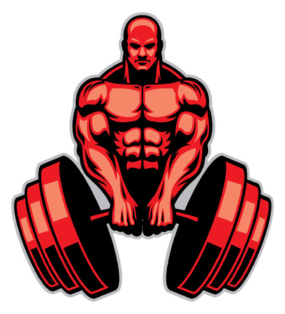 bodybuilder mascot hold the mega barbell Illustration