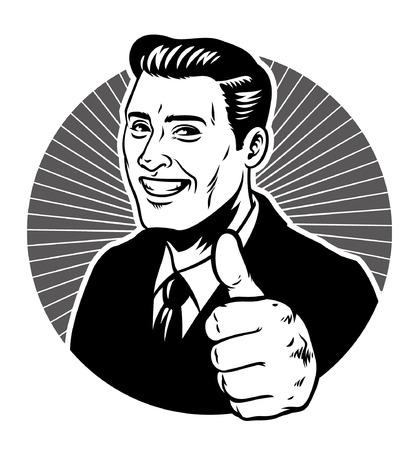 vintage vector art man in suit thumb up Çizim
