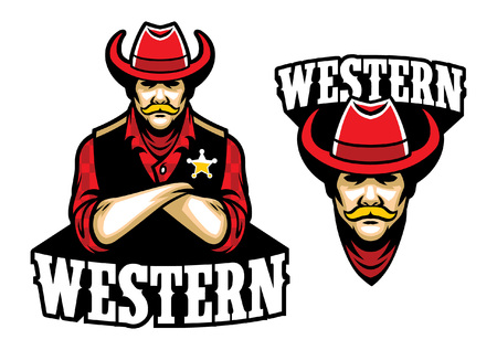 cowboy sheriff mascot set