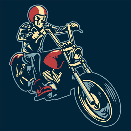 skull riding chopper motorcycle
