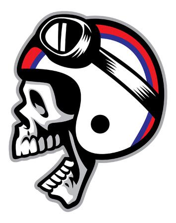 skull wearing biker helmet
