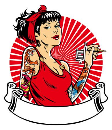 tätowierte Frauen halten die Tätowiermaschine Vektorgrafik