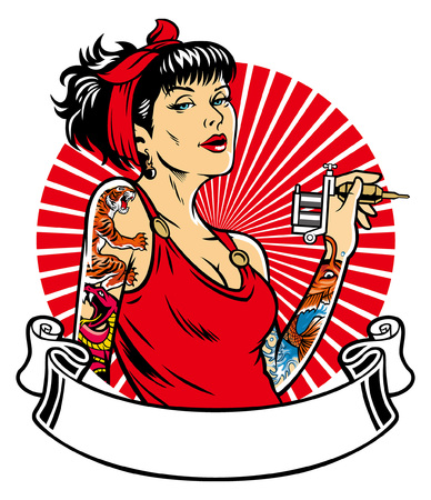 tattooed women hold the tattoo machine