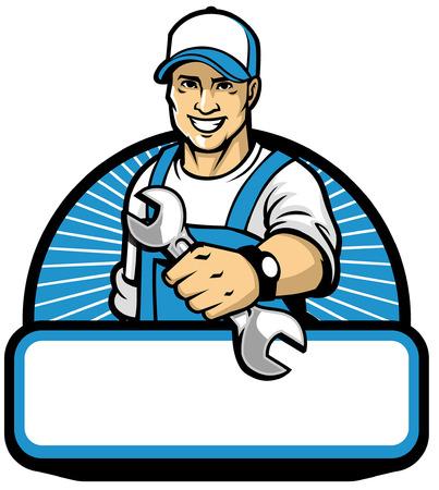 mechanic mascot hold the wrench key