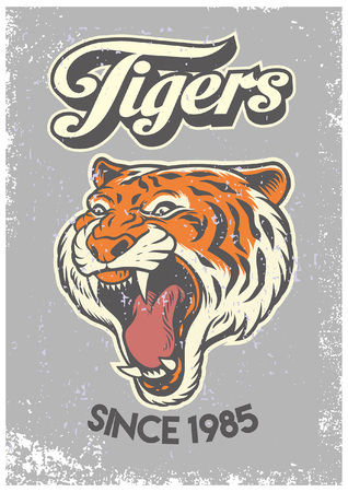 roaring tiger mascot in vintage style