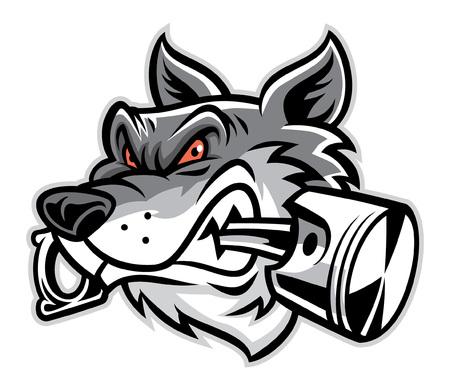 オオカミの頭のマスコットはピストンを噛む