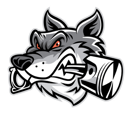 wolf head mascot bite the piston Illustration