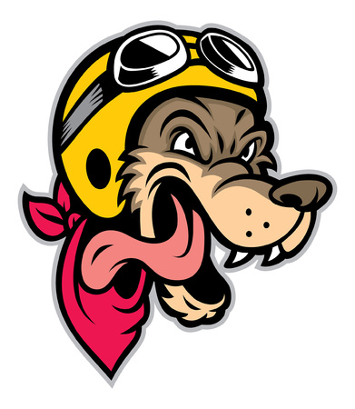 cartoon wolf head mascot wearing biker helmet Illustration