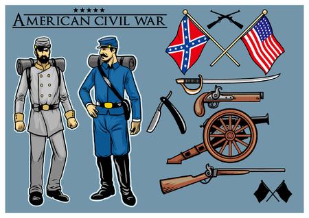 set collectie van amerikaanse burgeroorlog object