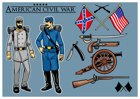 set collection of american civic war object Stock Illustratie