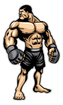 MMA fighter with huge athletic body