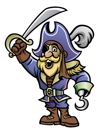 old man pirate in cartoon style