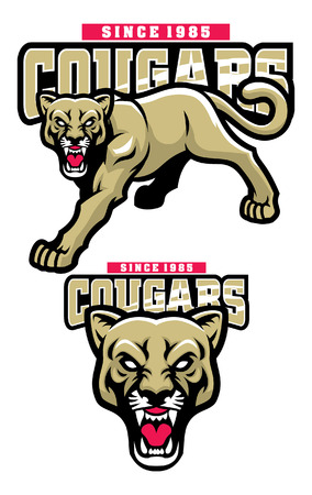 cougar mascot set with separated objects