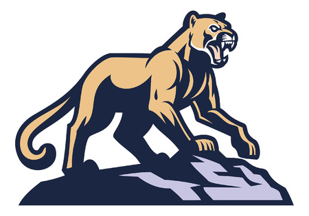 cougar mascot standing on the rock Vector Illustration