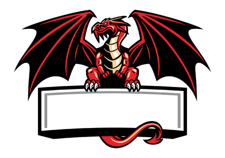 dragon mascot hold the blank banner for text
